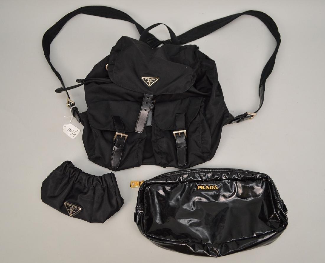 "3 Prada Bags. 1 Nylon Backpack 11 x 13"", Small makeup"