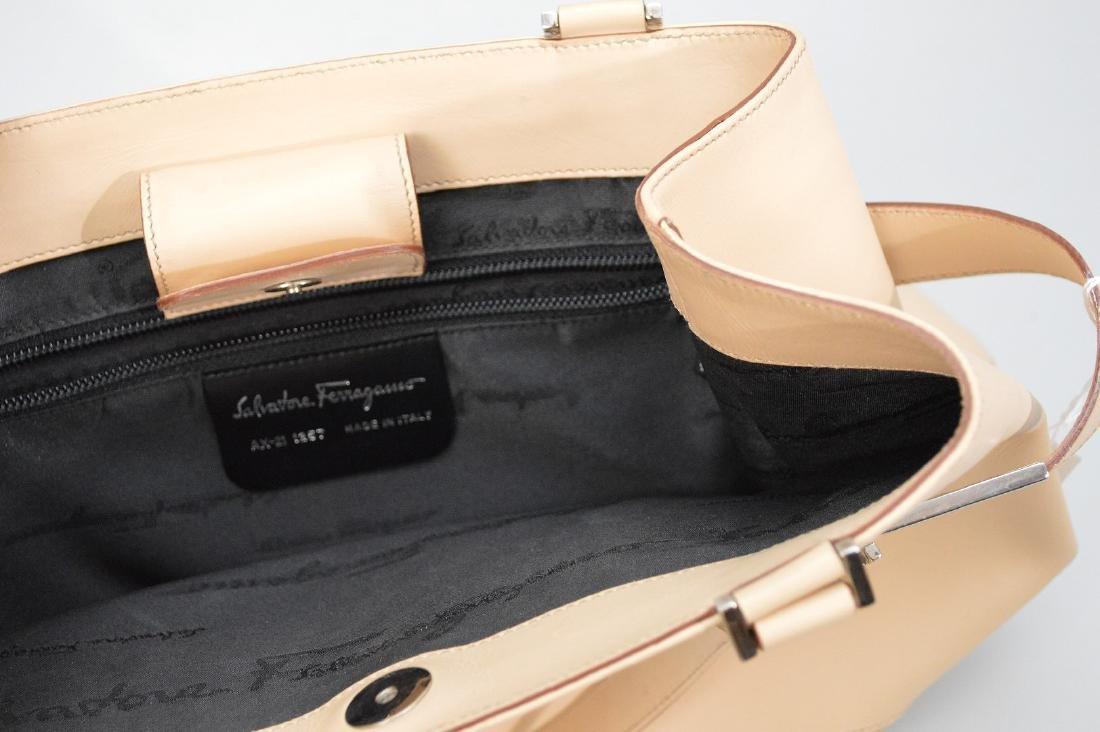 "Beige Salvatore Ferragamo Leather Handbag 10"" x !4"""