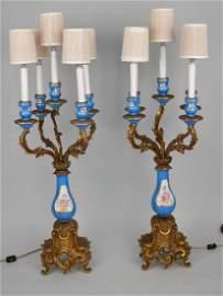 Pair Sevres Porcelain & Gilt Bronze 5 Light Candelabra.