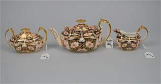 3 pc. Royal Crown Derby y porcelain tea set, teapot (4