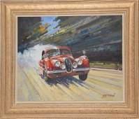 Willem Heytman (Dutch, B. 1950) oil on canvas, Red Car,