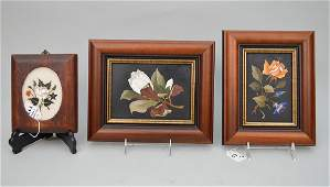 3 framed Pietra Dura plaques;  floral scene with white