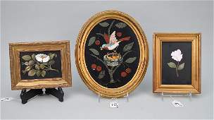 3 framed Pietra Dura plaques;  Oval plaque depicting