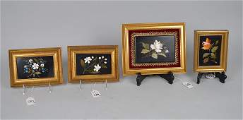 4 antique framed Pietra Dura plaques;  white rose on