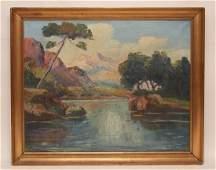 Oil on canvas signed Bayai mountain lake scene 1934