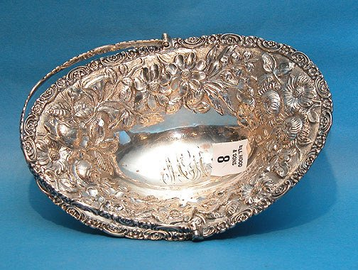 8: Repousse .925 Sterling Silver Basket