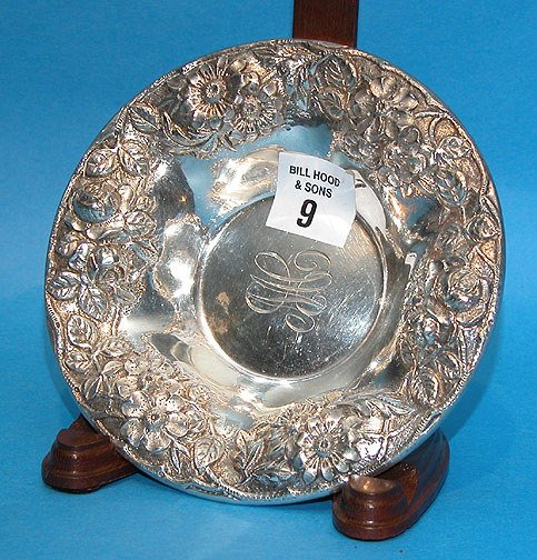 9: Repousse Shallow Sterling Bowl S. Kirk & Sons