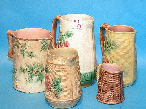 1: Lot of (13) Assorted Majolica Pitchers