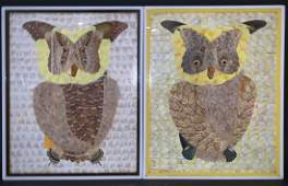 OWL Sculptures made of butterfly wings.