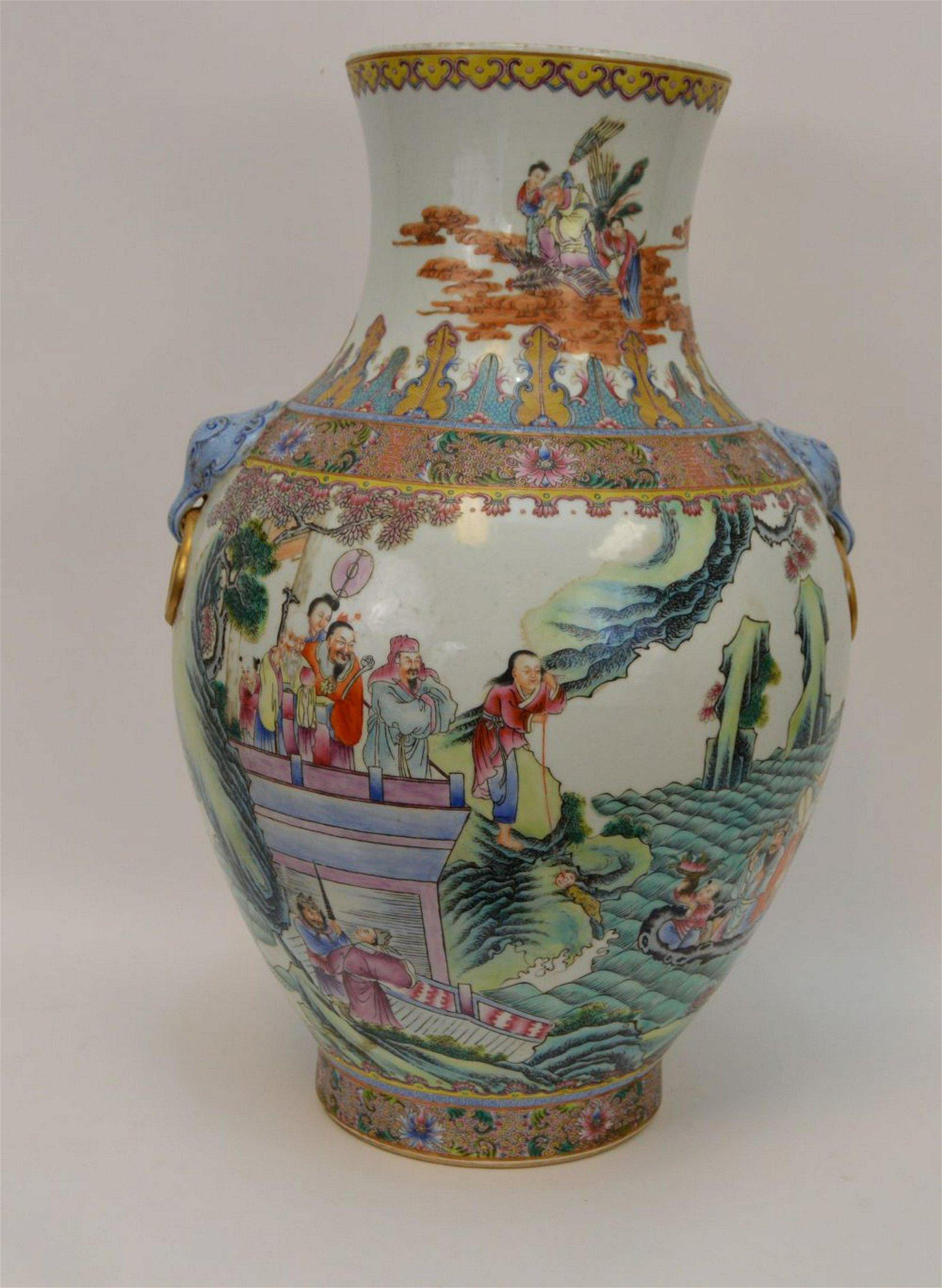 Large Early Chinese Famille Rose Porcelain Vase.