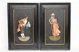 PAIR FRAMED PIETRA DURA PLAQUES with a man courting a