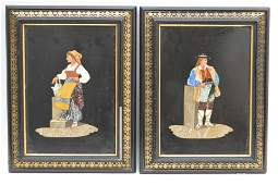 PAIR FRAMED PIETRA DURA PLAQUES in antique frames.