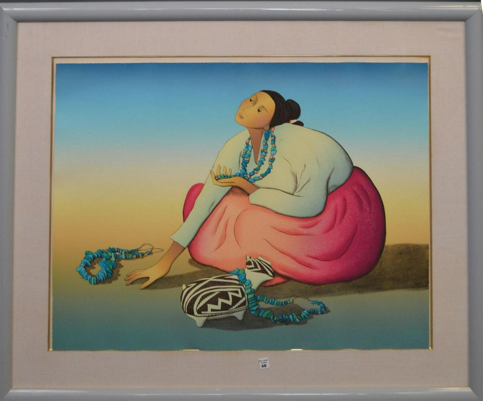 R C Gorman  (1932 - 2005) Lithograph Navajo girl
