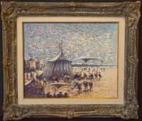 Donald Purdy (born 1924) oil on canvas, BEACH SCENE