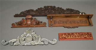 Lot of architectural wood hangings, including shelf