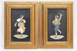 Pair framed Pietra Dura Plaques depicting musicians.