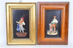 2 Framed Pietra Dura Plaques  1 Pietra Dura Plaque