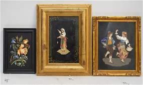 3 Framed Pietra Dura Plaques. 1 Floral Pietra Dura