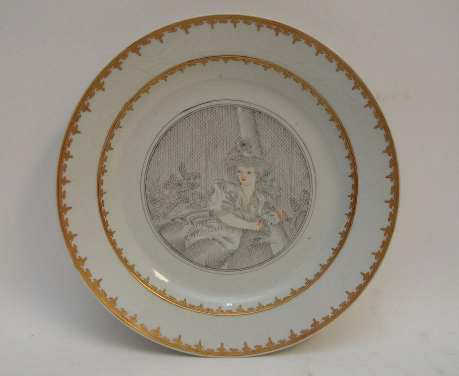 CHINESE FAMILLE ROSE PORCELAIN PLATE.  Condition: no