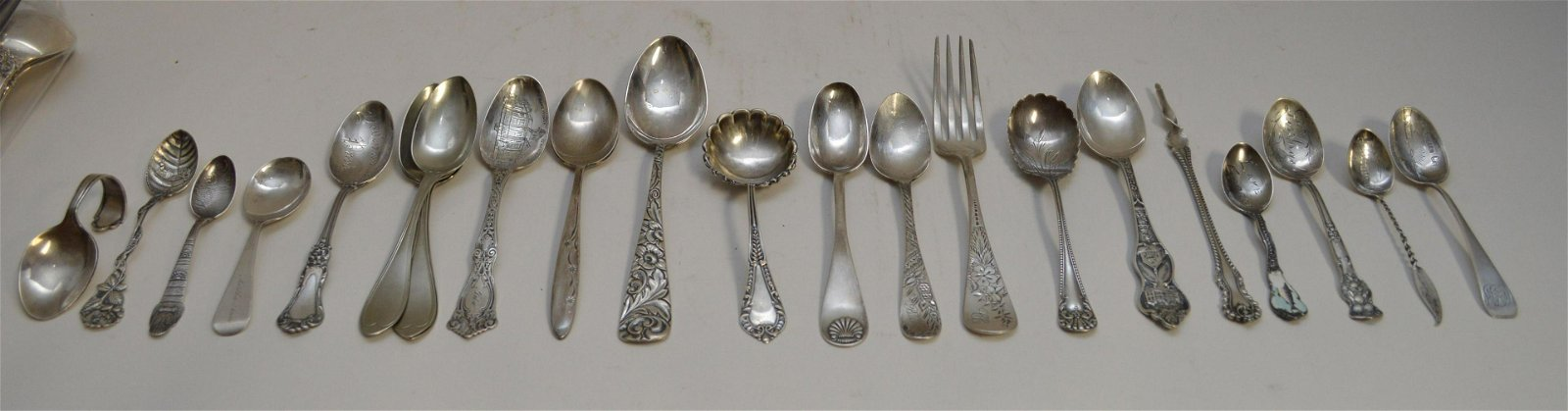 15 Pieces Assorted Sterling Silver Flatware.  Largest