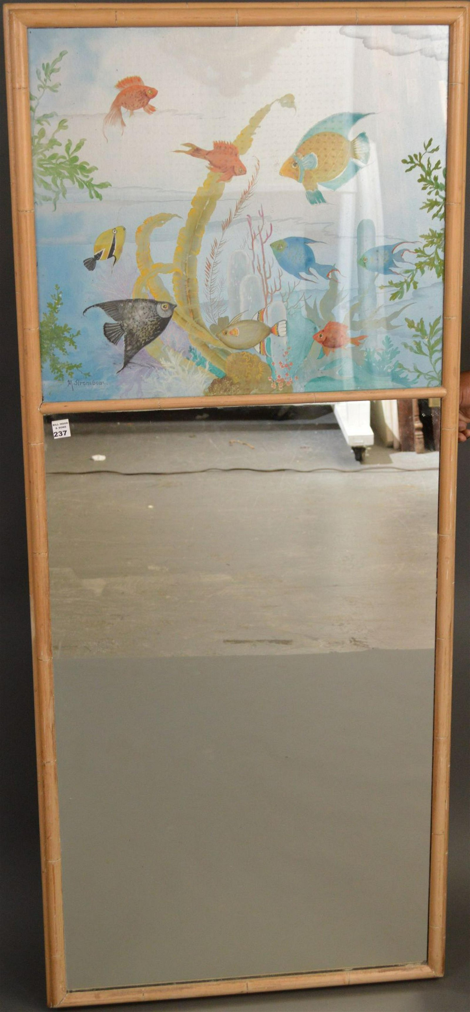 Vintage circa 1960's mirror with Sea life, signed M.