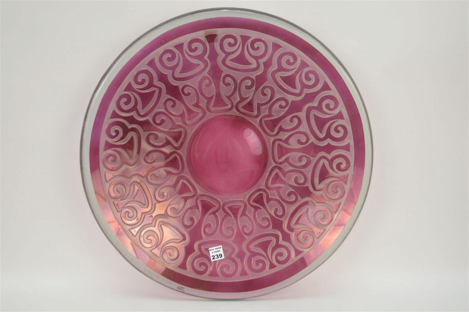 """Modern Intaglio cut glass red to clear charger, 21""""d"""