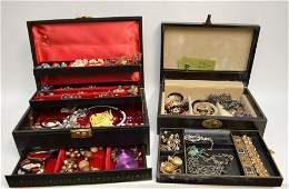 Two Fine Vintage Costume Jewelry Boxes. Over 100