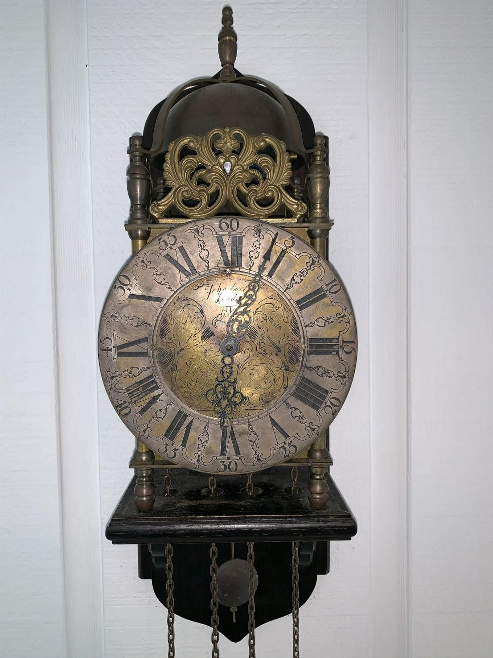 Bird cage form bracket clock with later works