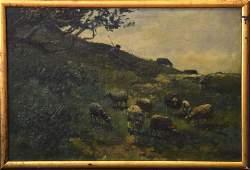 Willem Steelink (Dutch 1856-1928), oil on board, sheep