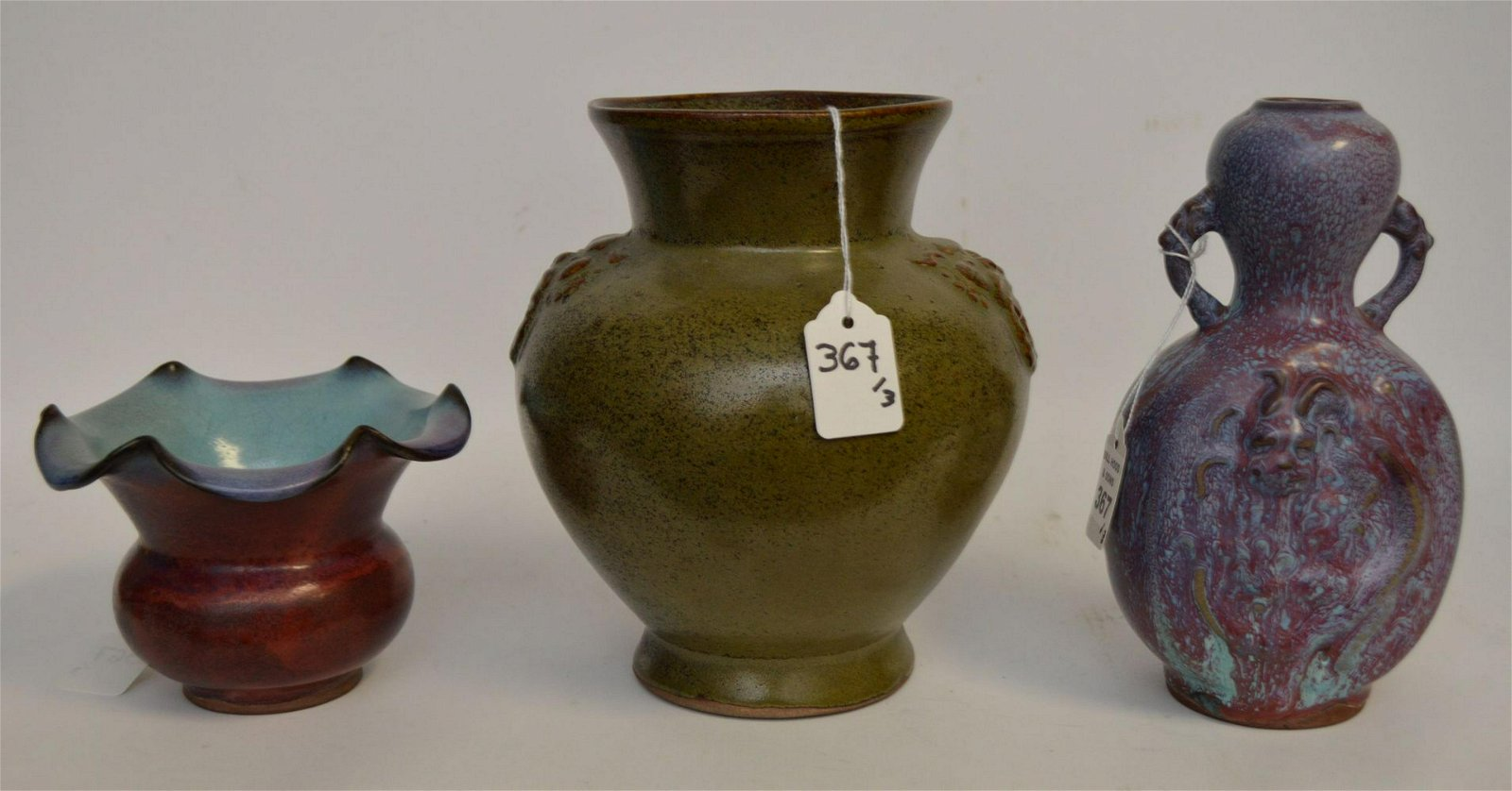 3 Chinese Glazed Pottery Articles.  Green Glazed