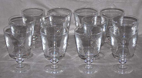 """2: 12 Steuben water glasses, 5 1/2""""h x 3 3/4""""diameter,"""