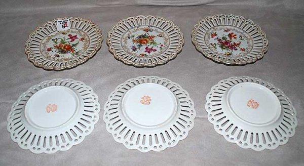 "5: 6"" Bavaria""  reticulated floral dessert plates, 6""L"
