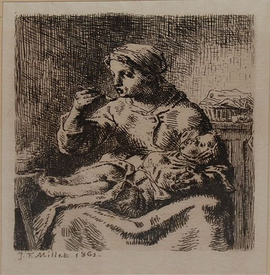 020A: Jean-Francois Millet, 1814-1875, France, etching,