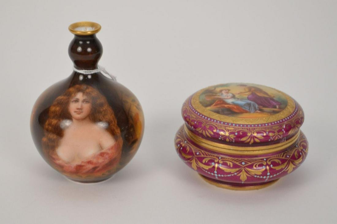 Royal Vienna signed hand painted dresser box and signed