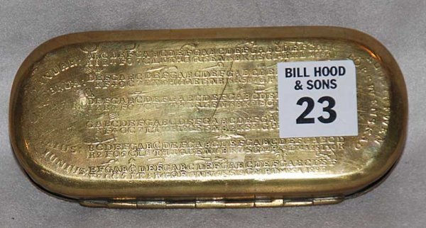 1023: Rare Dutch 17th cent brass and tobacco box with s