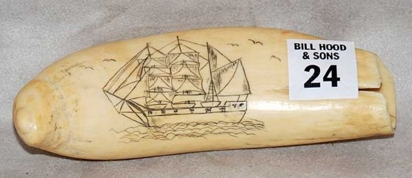 1024:  Old Scrimshaw tooth engraved with a whale ship,