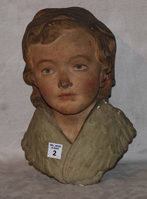 2: French 19th century composite bust of boy, with a cr