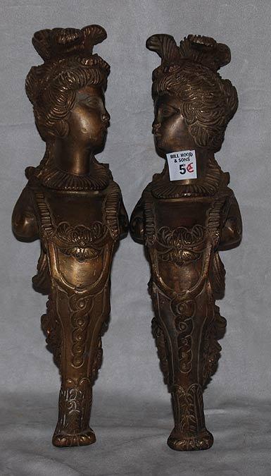 5: Pair of bronze Oriental women with elaborate headdre