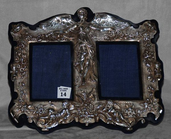 14: Sterling double picture frame English hallmarks