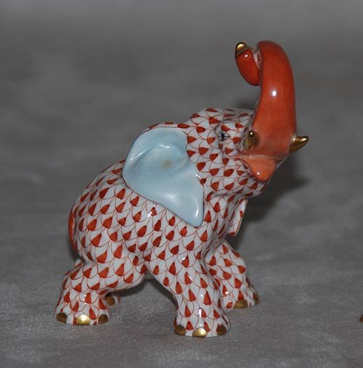 """19: Herend elephant with trunk up, 3 1'2""""h x 3""""l"""