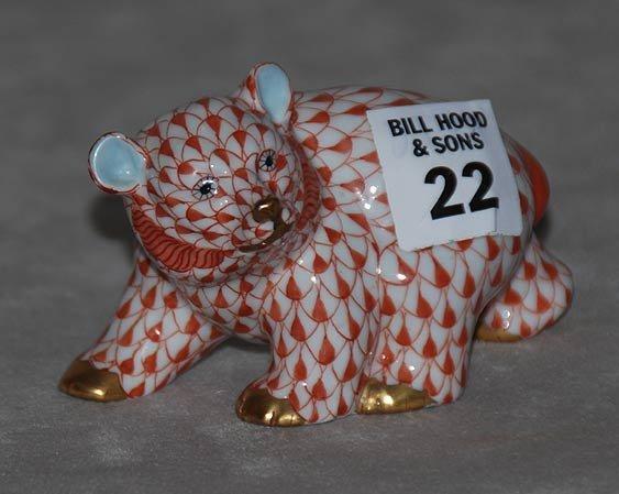"""22: Herend bear, 3 3/4""""l x 2 1/4""""h"""