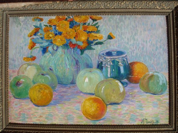 104C: Russian painting flowers attr Nikolas Tarkoff