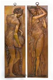 Pair bronze wall plaques by Ferdinand Barbedienne