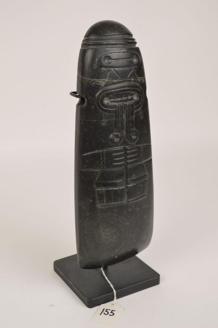 Pre-Columbian Large Black Stone Axe God, Very Rare