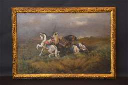 Antique Arabian horse scene painting in the style of