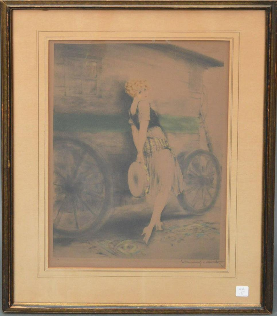 LOUIS ICART (1888 - 1950) Etching, YOUNG FLAPPER GIRL,