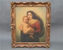 Oil on Canvas after Raphael Sanzio 19th Century Madonna