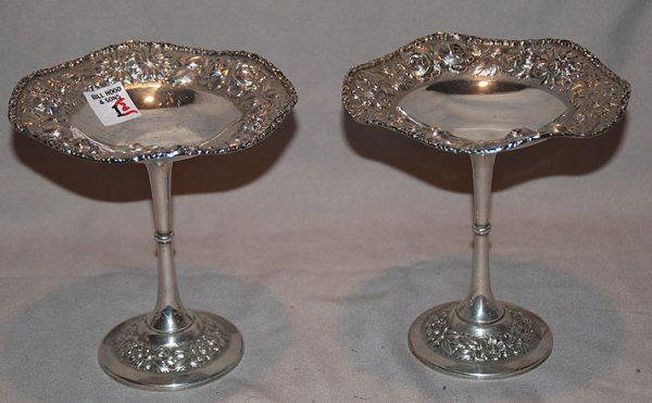 """1001: Pair of Stieff sterling compotes, 15oz, 7""""h"""