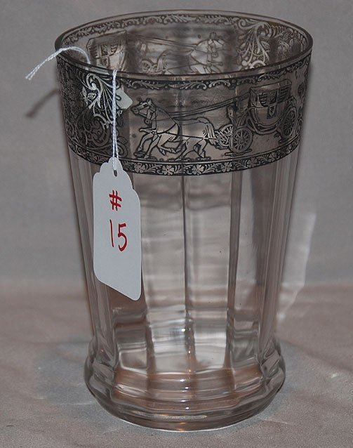 1015: Overlaid glass rim vase with stage coach design s