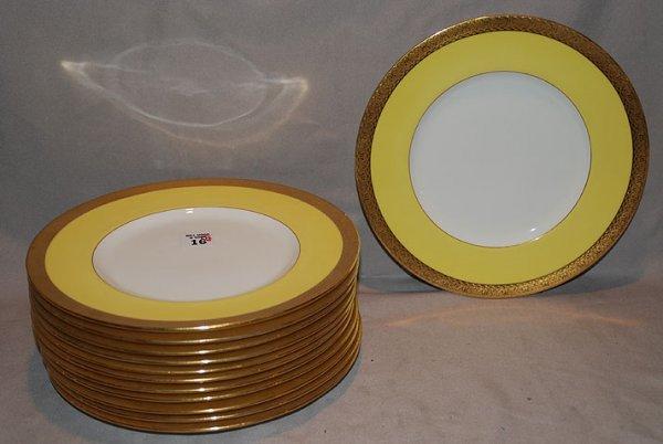 "1016: 12 Minton 10 1/4"" service plates, gold & yellow b"
